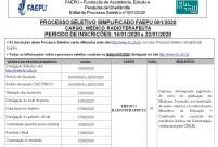 Processo Seletivo Simplificado FAEPU 001.2020 – MÉDICO RADIOTERAPEUTAUTA